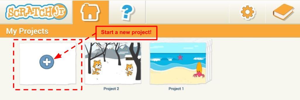 Scratch Jr. start new project