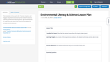 Environmental Literacy & Science Lesson Plan