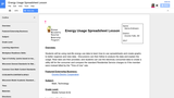 Energy Usage Spreadsheet CATE Lesson Plan