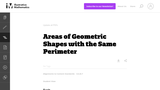 Areas of geometric shapes with the same perimeter