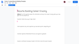 Career Cruising Resume Building Template