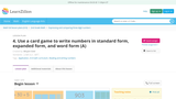 Use a card game to write numbers in standard form, expanded form, and word form