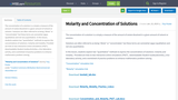 Molarity and Concentration of Solutions