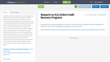 Research on K12 Online Credit Recovery Programs
