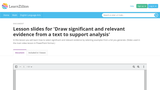 Draw Significant and Relevant Evidence from a Text to Support Analysis
