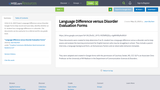 Language Difference versus Disorder Evaluation Forms