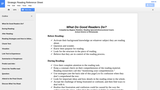 Strategic Reading Reference Sheet