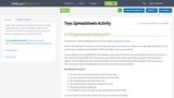 Toys Spreadsheets Activity