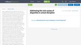 Addressing the root causes of disparities in school discipline