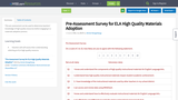 Pre-Assessment Survey for ELA High Quality Materials Adoption