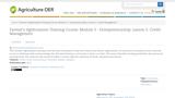 Farmer's Agribusiness Training Course: Module 3 - Entrepreneurship. Lesson 5: Credit Management