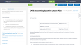 CATE Accounting Equation Lesson Plan