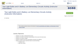 Two Light Bulbs and A Battery: an Elementary Circuits Activity (Instructor Information)