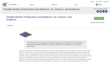 Parallel Worlds of Education and Medicine: Art, Science, and Evidence