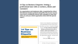14 Tips on Business Etiquette: Setting a Professional Tone with Co-Workers, Clients, and Customers